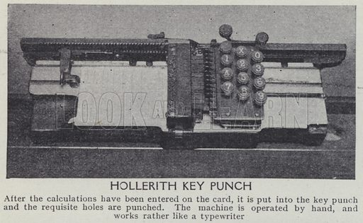 Hollerith key punch. Illustration for Harmsworth's Business Encyclopedia and Commercial Educator (c 1926).