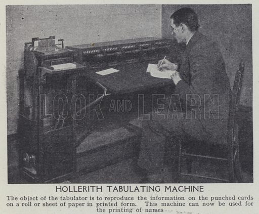 Hollerith tabulating machine. Illustration for Harmsworth's Business Encyclopedia and Commercial Educator (c 1926).