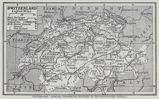 Switzerland, Principal commercial features of the Mountainous Republic. Illustration for Harmsworth's Business Encyclopedia and Commercial Educator (c 1926).