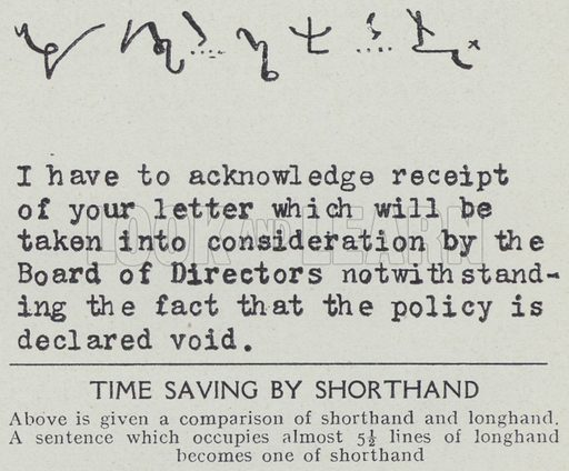Time saving by shorthand. Illustration for Harmsworth's Business Encyclopedia and Commercial Educator (c 1926).