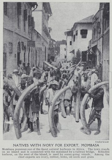 Natives with ivory for export, Mombasa. Illustration for Harmsworth's Business Encyclopedia and Commercial Educator (c 1926).