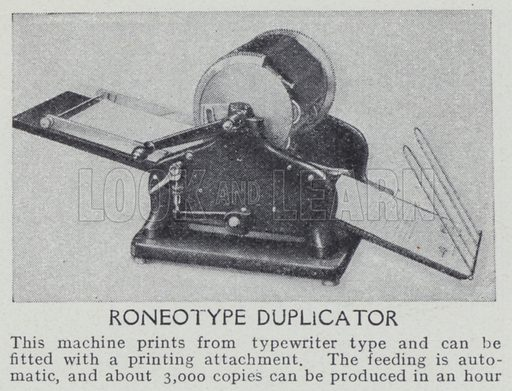 Roneotype duplicator. Illustration for Harmsworth's Business Encyclopedia and Commercial Educator (c 1926).