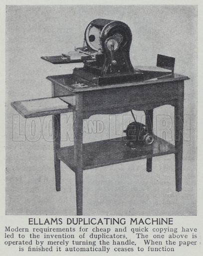 Ellams duplicating machine. Illustration for Harmsworth's Business Encyclopedia and Commercial Educator (c 1926).