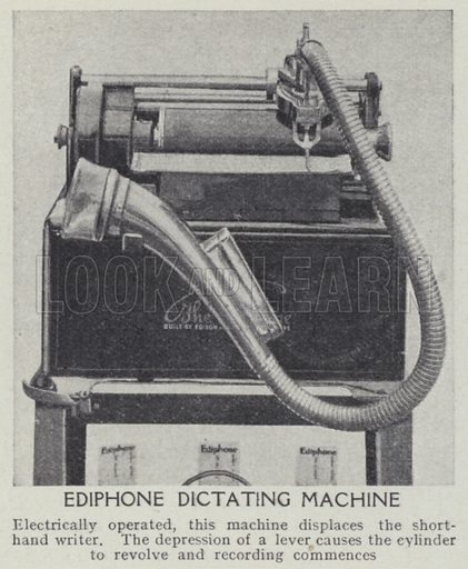 Ediphone dictating machine. Illustration for Harmsworth's Business Encyclopedia and Commercial Educator (c 1926).