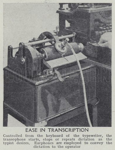 Ease in transcription. Illustration for Harmsworth's Business Encyclopedia and Commercial Educator (c 1926).