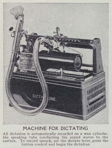 Machine for dictating. Illustration for Harmsworth's Business Encyclopedia and Commercial Educator (c 1926).