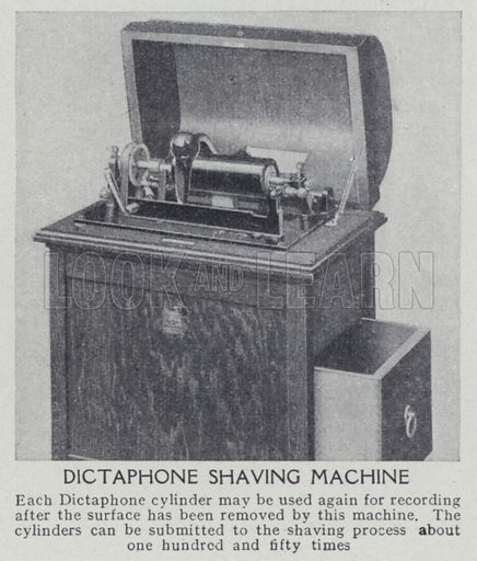 Dictaphone shaving machine. Illustration for Harmsworth's Business Encyclopedia and Commercial Educator (c 1926).