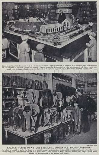 Bazaar, Scenes in a store's seasonal display for young customers. Illustration for Harmsworth's Business Encyclopedia and Commercial Educator (c 1926).