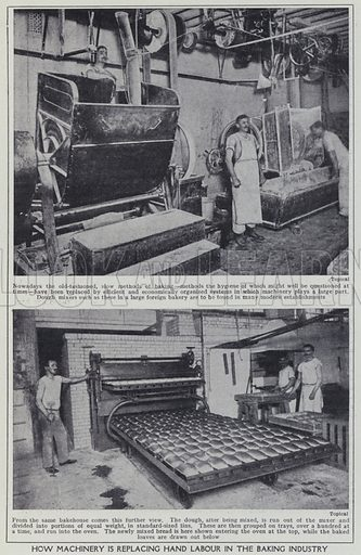How machinery is replacing hand labour in the baking industry. Illustration for Harmsworth's Business Encyclopedia and Commercial Educator (c 1926).