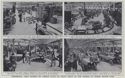 Assembling, How division of labour plays its many parts in the making of Morris Motor Cars. Illustration for Harmsworth's Business Encyclopedia and Commercial Educator (c 1926).