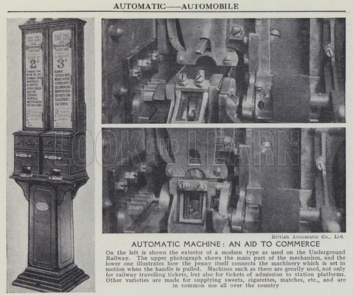 Automatic machine, An aid to commerce. Illustration for Harmsworth's Business Encyclopedia and Commercial Educator (c 1926).