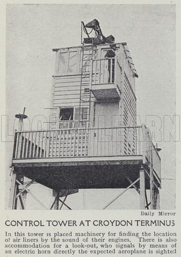 Control tower at Croydon terminus. Illustration for Harmsworth's Business Encyclopedia and Commercial Educator (c 1926).