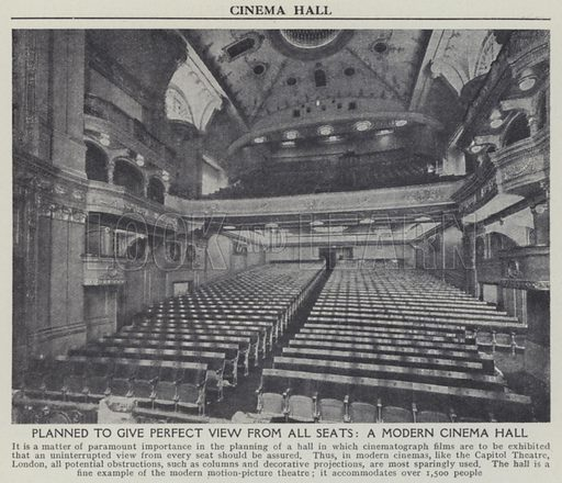 Planned to give perfect view from all seats, A modern cinema hall. Illustration for Harmsworth's Business Encyclopedia and Commercial Educator (c 1926).