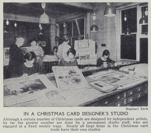 In a Christmas card designer's studio. Illustration for Harmsworth's Business Encyclopedia and Commercial Educator (c 1926).