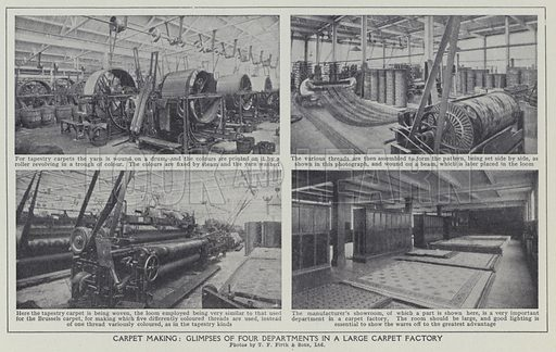 Carpet making, Glimpses of four departments in a large carpet factory. Illustration for Harmsworth's Business Encyclopedia and Commercial Educator (c 1926).
