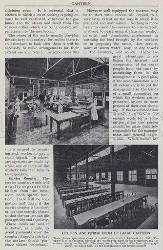 Kitchen and dining room of large canteen. Illustration for Harmsworth's Business Encyclopedia and Commercial Educator (c 1926).