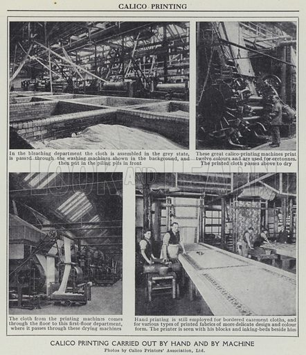 Calico printing carried out by hand and by machine. Illustration for Harmsworth's Business Encyclopedia and Commercial Educator (c 1926).