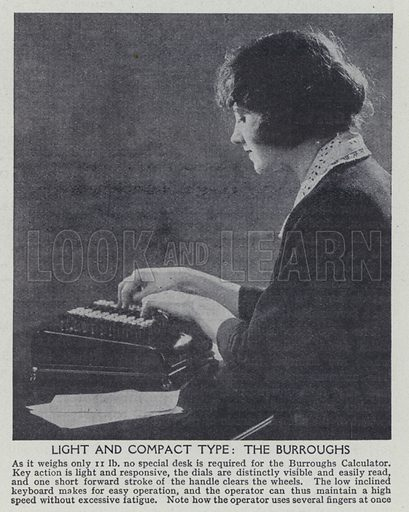 Light and compact type, The Burroughs. Illustration for Harmsworth's Business Encyclopedia and Commercial Educator (c 1926).