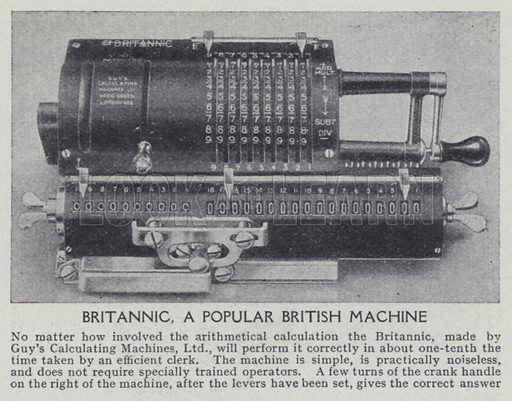 Britannic, a popular British machine. Illustration for Harmsworth's Business Encyclopedia and Commercial Educator (c 1926).