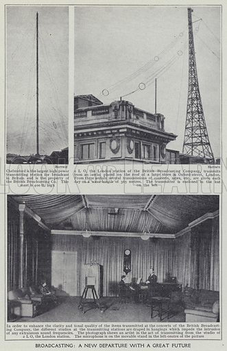 Broadcasting, A new departure with a great future. Illustration for Harmsworth's Business Encyclopedia and Commercial Educator (c 1926).