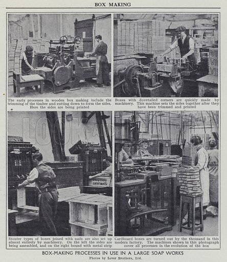 Box-making processes in use in a large soap works. Illustration for Harmsworth's Business Encyclopedia and Commercial Educator (c 1926).