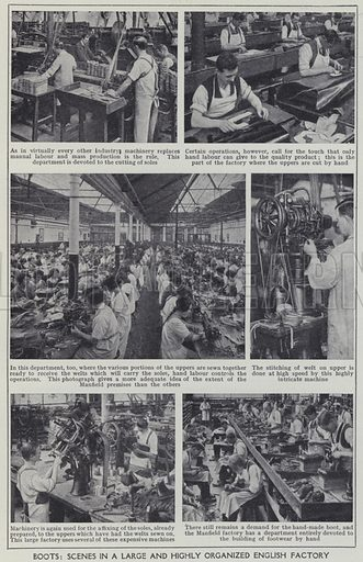 Boots, Scenes in a large and highly organized English factory. Illustration for Harmsworth's Business Encyclopedia and Commercial Educator (c 1926).