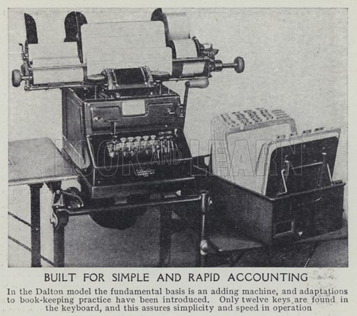 Built for simple and rapid accounting. Illustration for Harmsworth's Business Encyclopedia and Commercial Educator (c 1926).