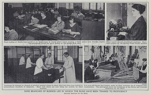 Some branches of business life in which the blind have been trained to proficiency. Illustration for Harmsworth's Business Encyclopedia and Commercial Educator (c 1926).