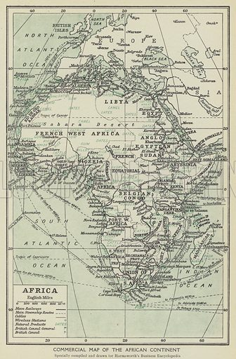 Commercial map of the African continent. Illustration for Harmsworth's Business Encyclopedia and Commercial Educator (c 1926).