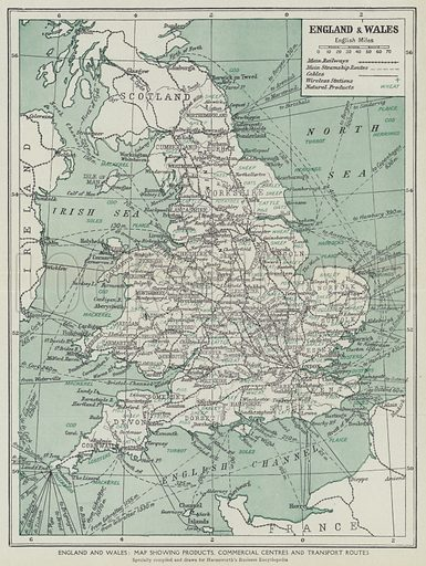 England and Wales, Map showing products, commercial centres and transport routes. Illustration for Harmsworth's Business Encyclopedia and Commercial Educator (c 1926).