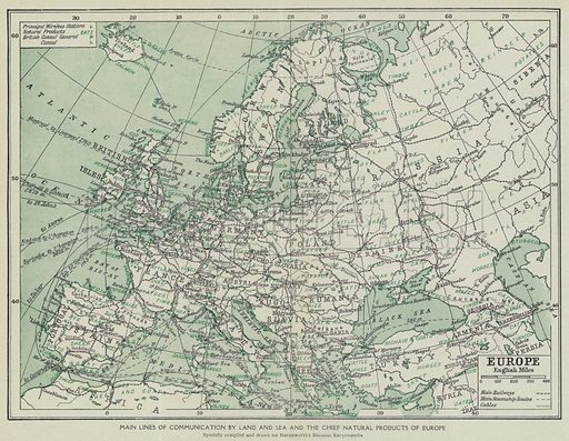 Main lines of communication by land and sea and the chief natural products of Europe. Illustration for Harmsworth's Business Encyclopedia and Commercial Educator (c 1926).