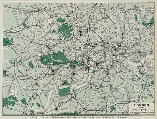 London, The main thoroughfares, railways and their termini, and the course of the Thames. Illustration for Harmsworth's Business Encyclopedia and Commercial Educator (c 1926).