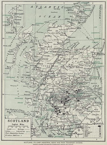Scotland, its chief industrial areas and main transport systems. Illustration for Harmsworth's Business Encyclopedia and Commercial Educator (c 1926).