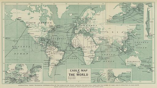 International marine telegraphic communications of the world in use to-day, showing the directions taken and the number of cable lines in operation in each route. Illustration for Harmsworth's Business Encyclopedia and Commercial Educator (c 1926).