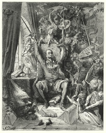 """""""A world of disorderly notions, picked out of his books, crowded into his imagination."""" Illustration for The History of Don Quixote by Cervantes (Cassell, c 1880).  Images scanned at high resolution and digitally cleaned to permit repro at large size if necessary."""