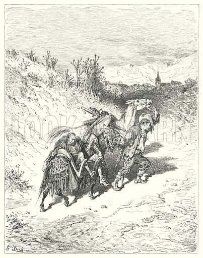 """""""He led them all towards the village, and trudged a-foot himself, very pensive."""" Illustration for The History of Don Quixote by Cervantes (Cassell, c 1880).  Images scanned at high resolution and digitally cleaned to permit repro at large size if necessary."""