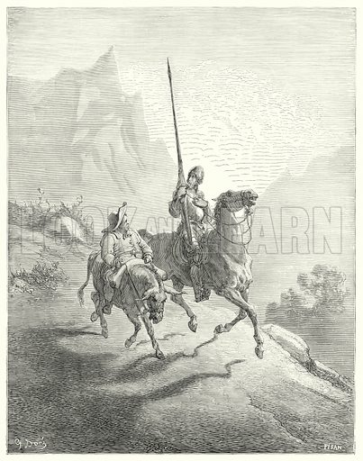 """""""It was yet early in the morning, at which time the sunbeams did not prove so offensive."""" Illustration for The History of Don Quixote by Cervantes (Cassell, c 1880).  Images scanned at high resolution and digitally cleaned to permit repro at large size if necessary."""