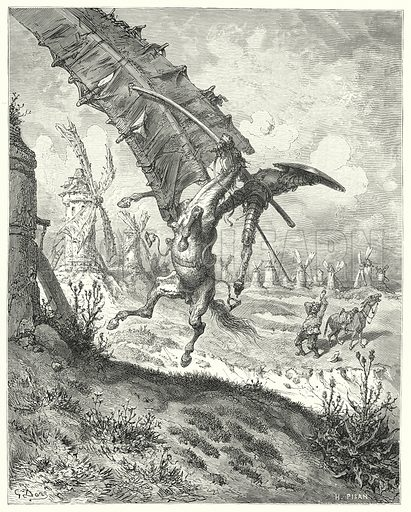 """""""The sail hurled away both knight and horse along with it."""" Illustration for The History of Don Quixote by Cervantes (Cassell, c 1880).  Images scanned at high resolution and digitally cleaned to permit repro at large size if necessary."""
