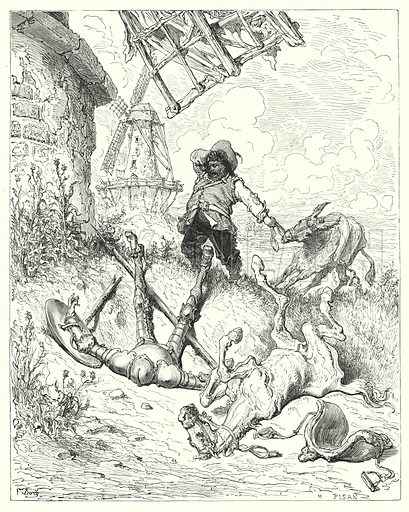 """""""Sancho ran as fast as his ass could drive, to help his master."""" Illustration for The History of Don Quixote by Cervantes (Cassell, c 1880).  Images scanned at high resolution and digitally cleaned to permit repro at large size if necessary."""