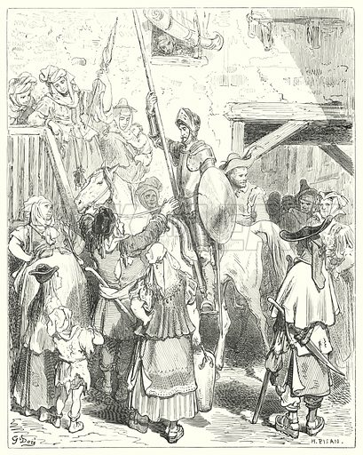 """""""I have nothing to do with all this,"""" cried the innkeeper; """"pay your reckoning."""" Illustration for The History of Don Quixote by Cervantes (Cassell, c 1880).  Images scanned at high resolution and digitally cleaned to permit repro at large size if necessary."""
