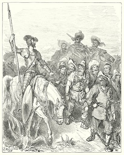 """Don Quixote asked the first for what crimes he was in these miserable circumstances."" Illustration for The History of Don Quixote by Cervantes (Cassell, c 1880).  Images scanned at high resolution and digitally cleaned to permit repro at large size if necessary."