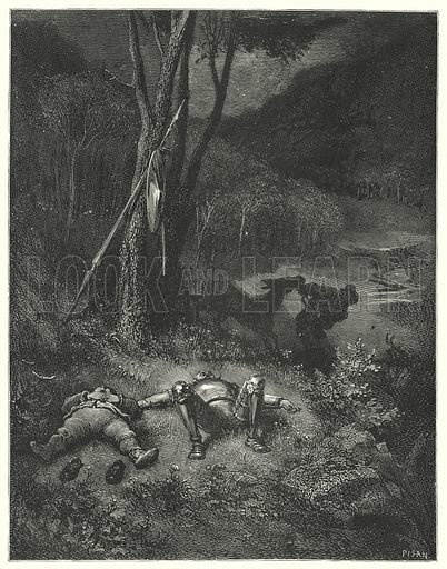 """""""Gines, who was a stranger both to gratitude and humanity, resolved to ride away with Sancho's ass."""" Illustration for The History of Don Quixote by Cervantes (Cassell, c 1880).  Images scanned at high resolution and digitally cleaned to permit repro at large size if necessary."""