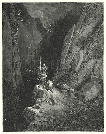 """""""Don Quixote was transported with joy to find himself where he might flatter his ambition with the hopes of fresh adventures."""" Illustration for The History of Don Quixote by Cervantes (Cassell, c 1880).  Images scanned at high resolution and digitally cleaned to permit repro at large size if necessary."""