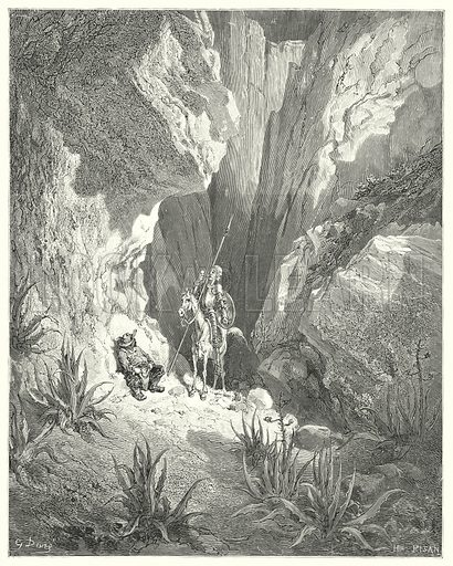 """""""The first thing he found was the rough draught of a sonnet; so he read it aloud."""" Illustration for The History of Don Quixote by Cervantes (Cassell, c 1880).  Images scanned at high resolution and digitally cleaned to permit repro at large size if necessary."""