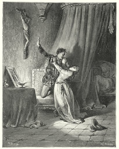 """""""I am yours this moment, beautiful Dorothea: see, I give you here my hand to be yours."""" Illustration for The History of Don Quixote by Cervantes (Cassell, c 1880).  Images scanned at high resolution and digitally cleaned to permit repro at large size if necessary."""