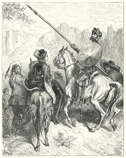 """Now, lady,"" said Don Quixote, ""let me entreat your greatness to tell me which way we must go, to do you service."" Illustration for The History of Don Quixote by Cervantes (Cassell, c 1880).  Images scanned at high resolution and digitally cleaned to permit repro at large size if necessary."