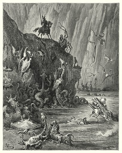 """""""A vast lake of boiling pitch, in which an infinite multitude of fierce and terrible creatures are traversing backwards and forwards."""" Illustration for The History of Don Quixote by Cervantes (Cassell, c 1880).  Images scanned at high resolution and digitally cleaned to permit repro at large size if necessary."""