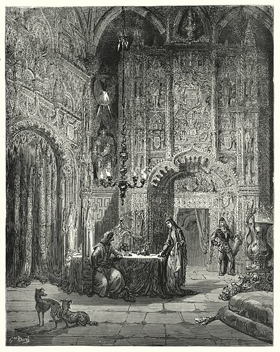 """Another damsel comes into the room, and begins to inform him what castle that is, and how she is enchanted in it."" Illustration for The History of Don Quixote by Cervantes (Cassell, c 1880).  Images scanned at high resolution and digitally cleaned to permit repro at large size if necessary."