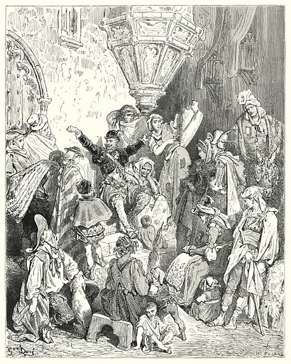 """""""There was not that country upon the face of the earth which he had not seen, nor battle which he had not been engaged in."""" Illustration for The History of Don Quixote by Cervantes (Cassell, c 1880).  Images scanned at high resolution and digitally cleaned to permit repro at large size if necessary."""