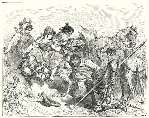 """""""Don Quixote gazed with dubious and disconsolate eyes on the creature whom Sancho called queen and lady."""" Illustration for The History of Don Quixote by Cervantes (Cassell, c 1880).  Images scanned at high resolution and digitally cleaned to permit repro at large size if necessary."""